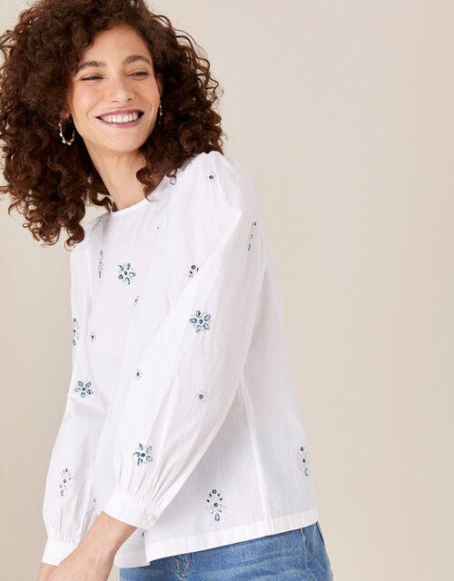 Nylah Gem Blouse in Pure Cotton, Ivory (IVORY), large