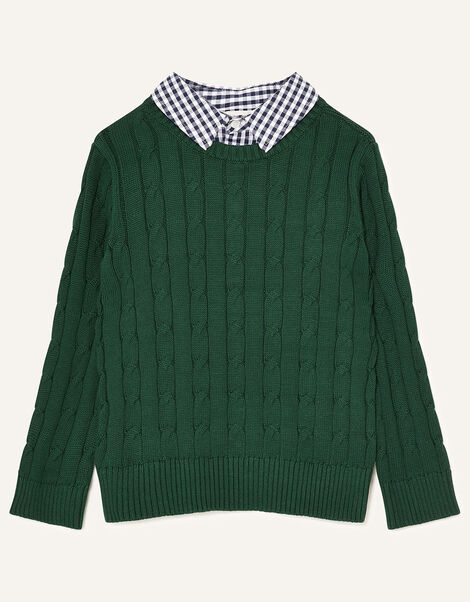 Mock Collar Cable Knit Jumper Green, Green (GREEN), large