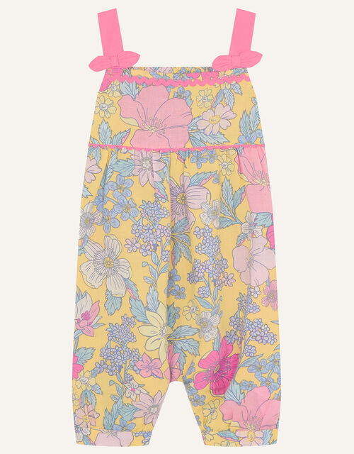 Baby Floral Jumpsuit in Linen Blend, Yellow (YELLOW), large