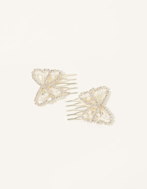 Diamante Butterfly Hair Combs, , large