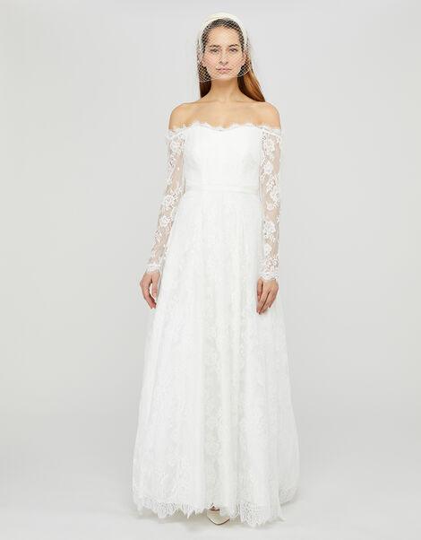 Cecily Bridal Bardot Lace Maxi Dress Ivory, Ivory (IVORY), large