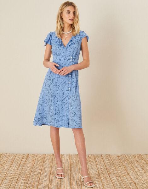 Spot Print Frill Dress Blue, Blue (BLUE), large