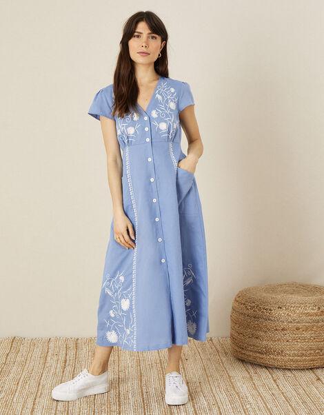 Embroidered Midi Dress in Linen Blend Blue, Blue (BLUE), large
