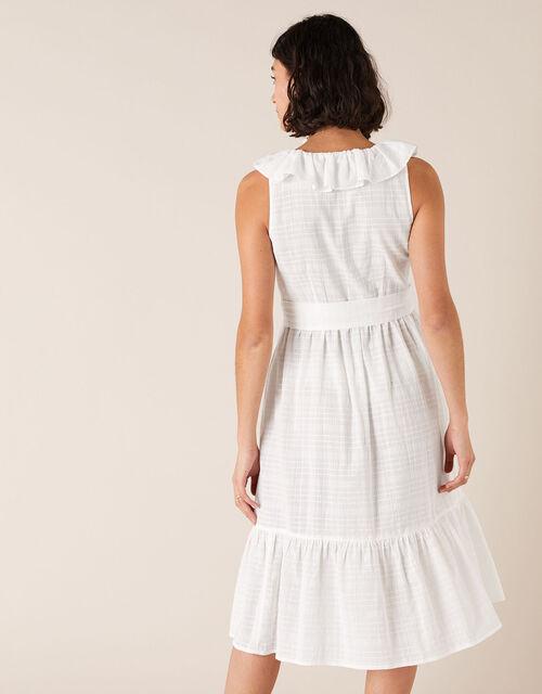 Ruffle Neck Dress in Organic Cotton, White (WHITE), large