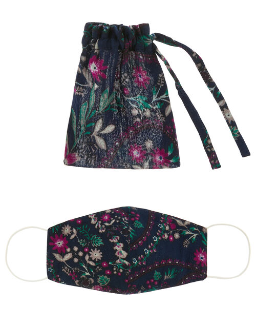 Floral Print Face Mask in Pure Cotton, , large
