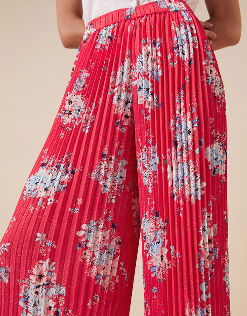 Floral Pleated Trousers, Red (RED), large