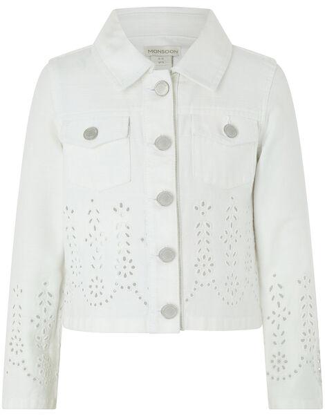 Missy Schiffli Denim Jacket White, White (WHITE), large