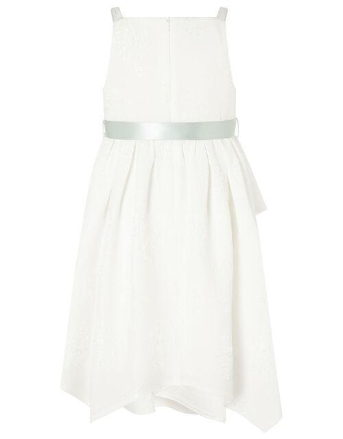 Jersey Jacquard Hanky Hem Dress, Ivory (IVORY), large