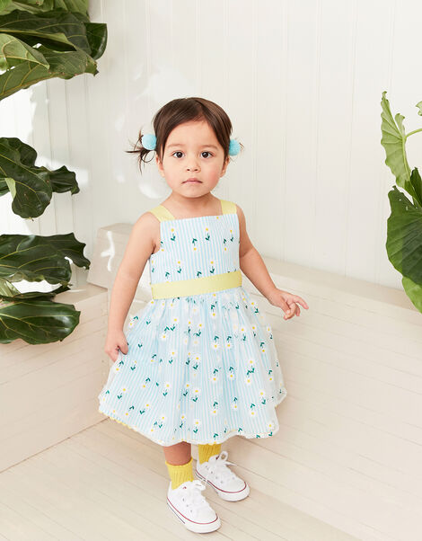 Baby Daisy Stripe Dress Blue, Blue (BLUE), large