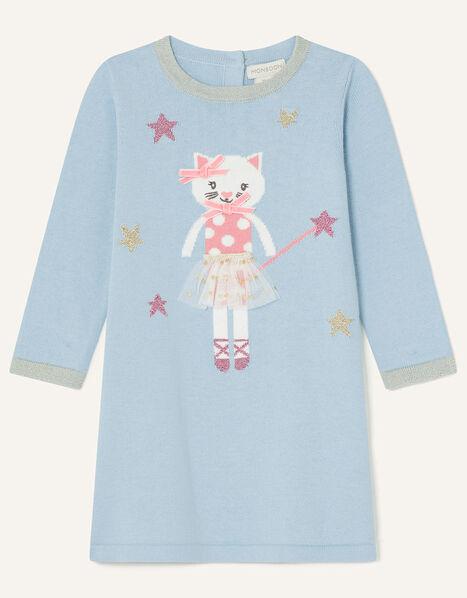 Baby Ballerina Cat Knit Dress Blue, Blue (AQUA), large