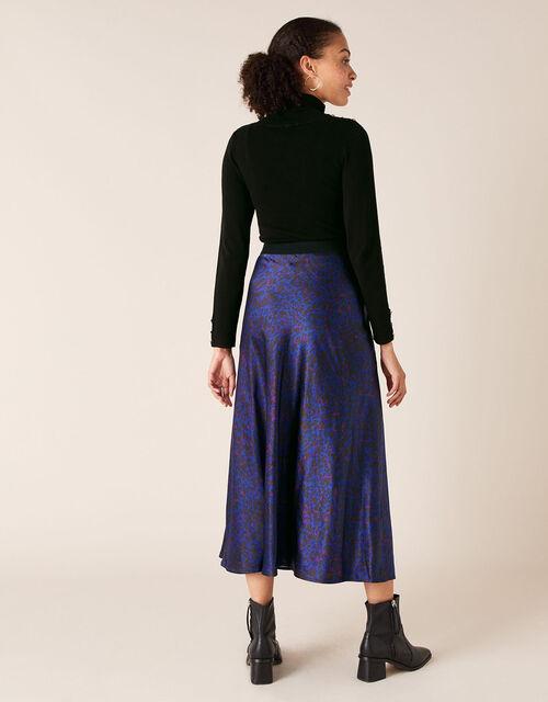 Animal Print Satin Skirt, Blue (BLUE), large