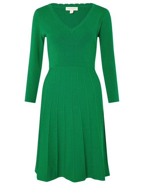 Scallop V-Neck Dress with Sustainable Viscose, Green (GREEN), large
