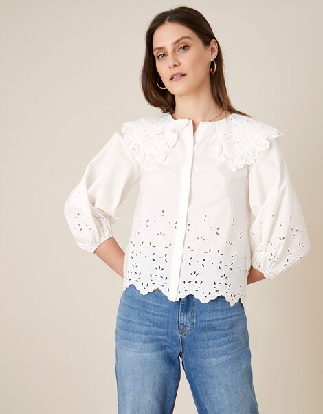 ARTISAN STUDO Poplin Statement Collar Blouse  White, White (WHITE), large