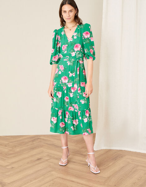 Alexis Floral Tiered Midi Dress Green, Green (GREEN), large