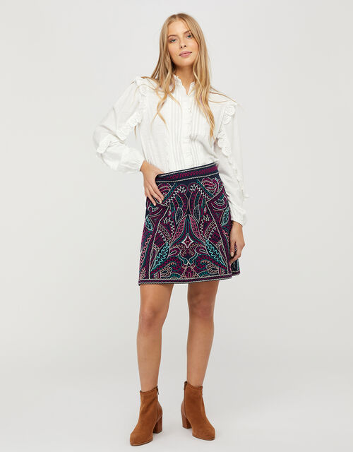 Emmy Embroidered Mini Skirt in Organic Cotton, Blue (NAVY), large