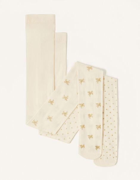 Glitter Unicorn Tights Multipack Ivory, Ivory (IVORY), large
