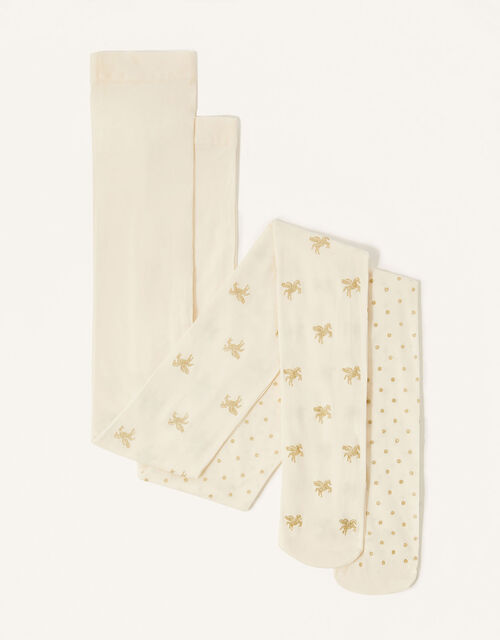 Glitter Unicorn Tights Multipack, Ivory (IVORY), large