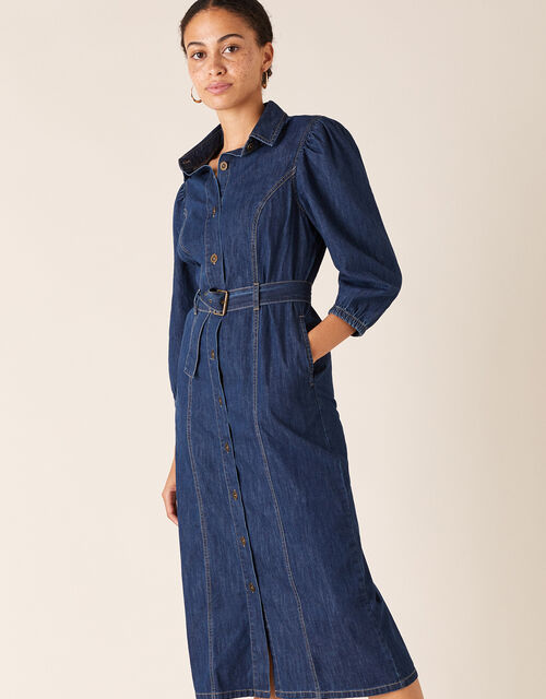 Belted Denim Midi Dress in Organic Cotton, Blue (DENIM BLUE), large