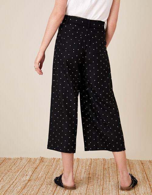 Pindot Scallop Crop Trousers, Black (BLACK), large
