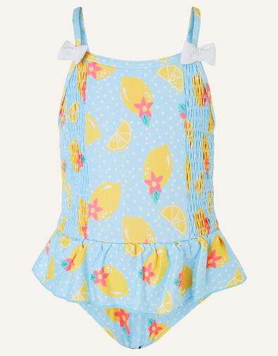 Baby Lemon Print Swimsuit Blue, Blue (BLUE), large
