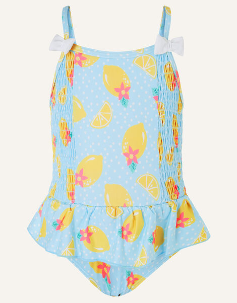 Baby Lemon Print Swimsuit Blue, Blue (BLUE), large