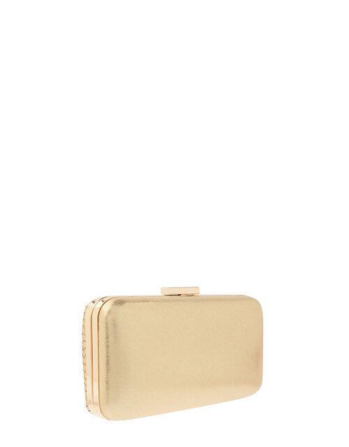 Metallic Weave Hardcase Clutch Bag, , large