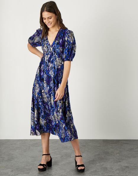 Nagini Snake Print Midi Dress Blue, Blue (BLUE), large