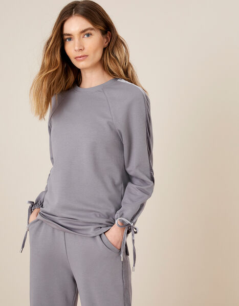 LOUNGE Laurie Velour Trim Sweatshirt Grey, Grey (GREY), large