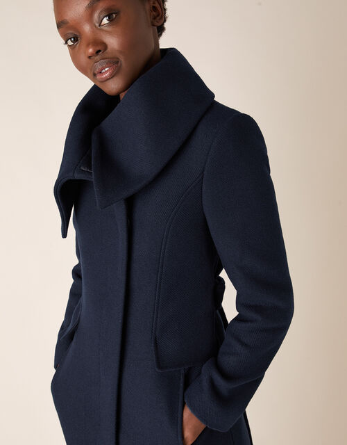 Keryn Wrap Collar Belted Coat, Blue (NAVY), large