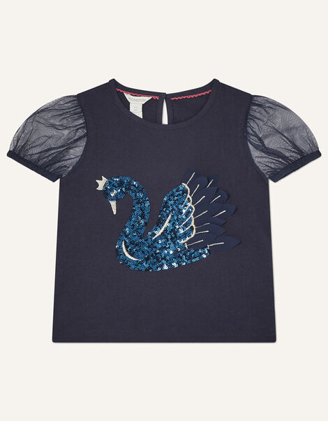 Sequin Swan T-Shirt Blue, Blue (NAVY), large