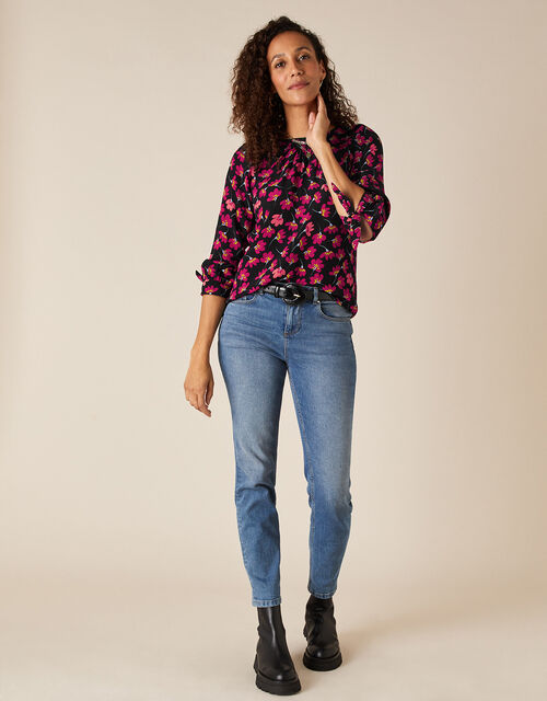 Floral Blouse in Sustainable Viscose, Black (BLACK), large