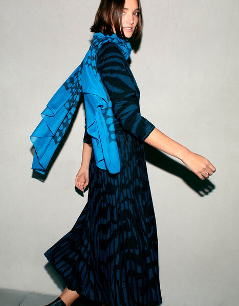 Zebra Jacquard Midi Dress Teal, Teal (TEAL), large