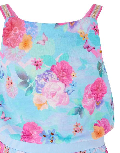 Floral Print Playsuit, Blue (TURQUOISE), large