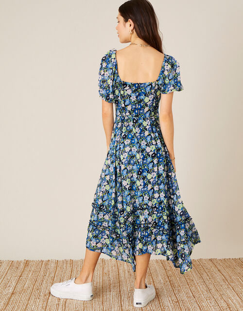 Marleigh Printed Dress in Sustainable Viscose , Blue (NAVY), large