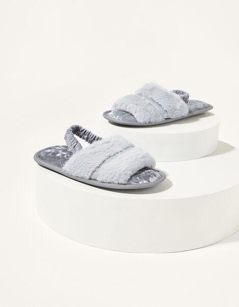 Glitter Trim Faux Fur Back Strap Slippers Grey, Grey (GREY), large