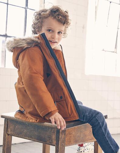 Parka Reflective Tape Coat Brown, Brown (BROWN), large