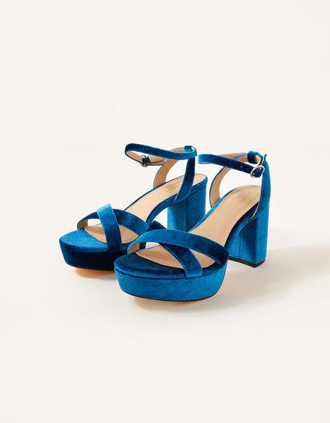 Velvet Platform Heeled Sandals  Teal, Teal (TEAL), large