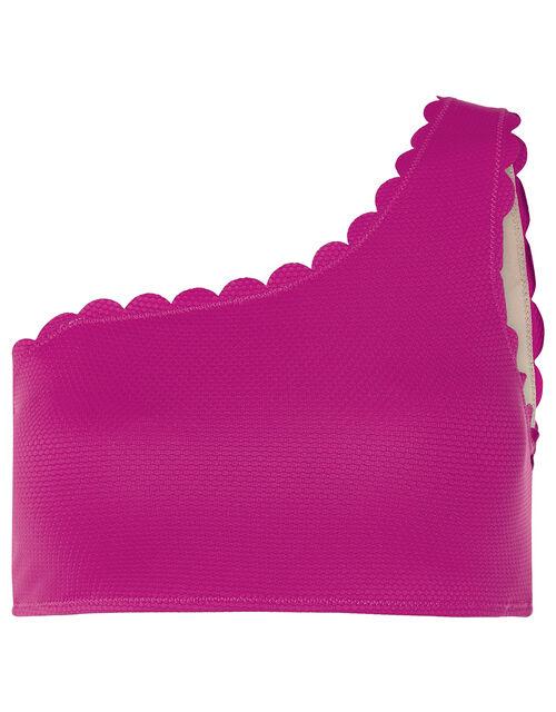 Marosi Scallop One-Shoulder Bikini Top, Pink (PINK), large