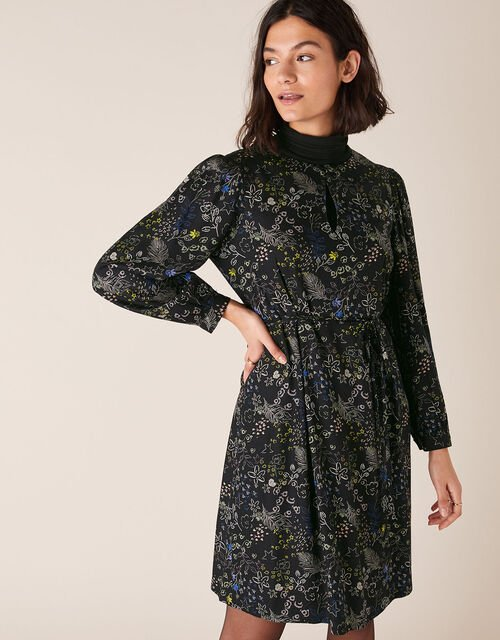 Printed Long-Sleeve Short Dress, Black (BLACK), large
