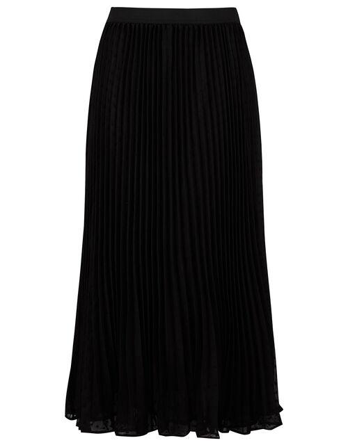 Pleated Dobby Spot Midi Skirt, Black (BLACK), large