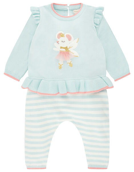 Newborn Baby Ballerina Mouse Knit Set Blue, Blue (AQUA), large