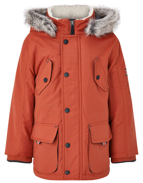 Parka Coat with Hood, Red (RED), large