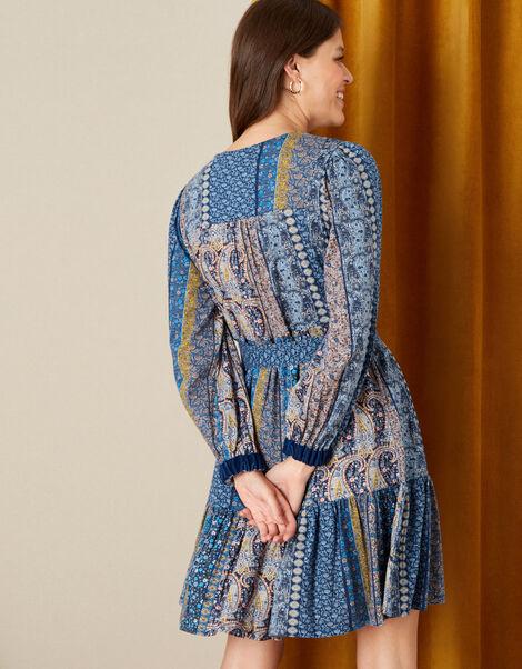 Paisley Print Dress Teal, Teal (TEAL), large