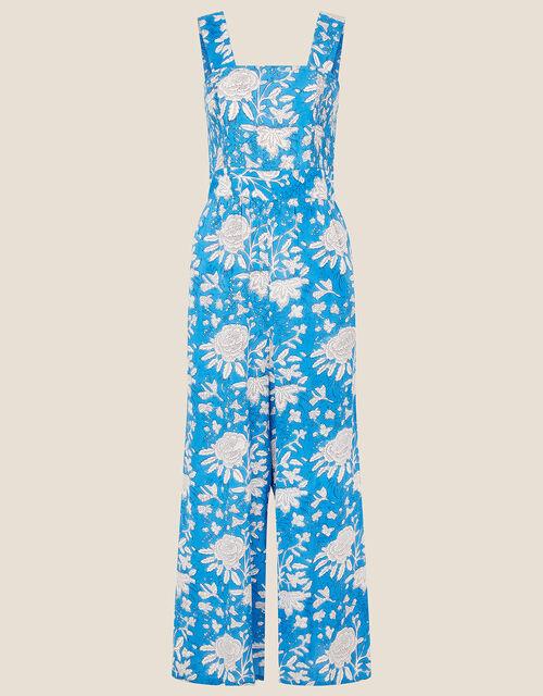 ARTISAN STUDIO Printed Jumpsuit, Blue (BLUE), large