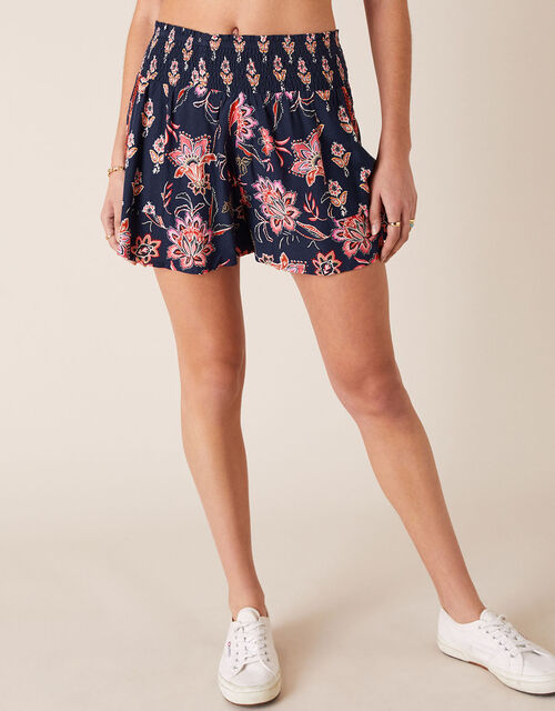 Floral Print Shorts in LENZING™ ECOVERO™, Blue (NAVY), large