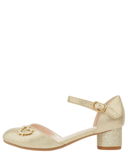 Hallie Gold Heart Charm Shoe, Gold (GOLD), large