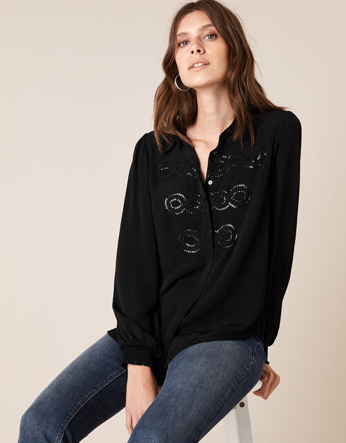Sequin Military Blouse in Sustainable Viscose, Black (BLACK), large
