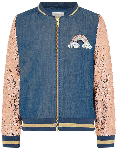 Sequin Unicorn Denim Bomber Jacket Blue, Blue (BLUE), large