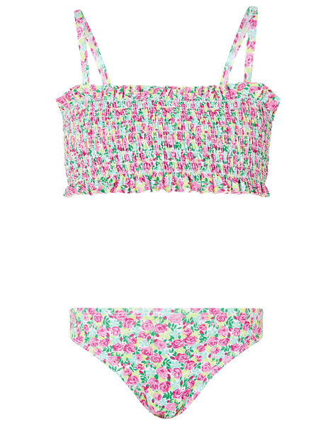 Ditsy Floral Shirred Bikini Set Green, Green (GREEN), large