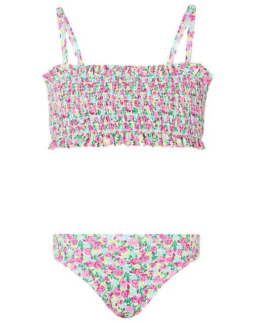 Ditsy Floral Shirred Bikini Set, Green (GREEN), large